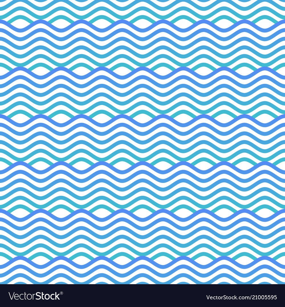 Blue and white seamless wave pattern linear