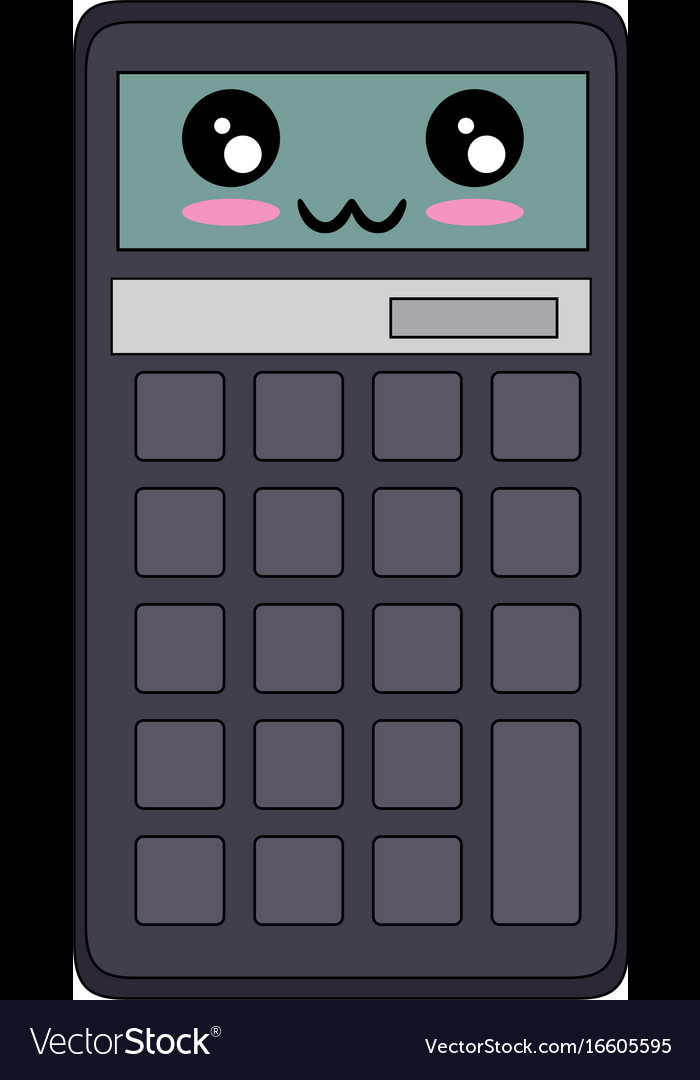 Calculator math device kawaii cartoon Royalty Free Vector
