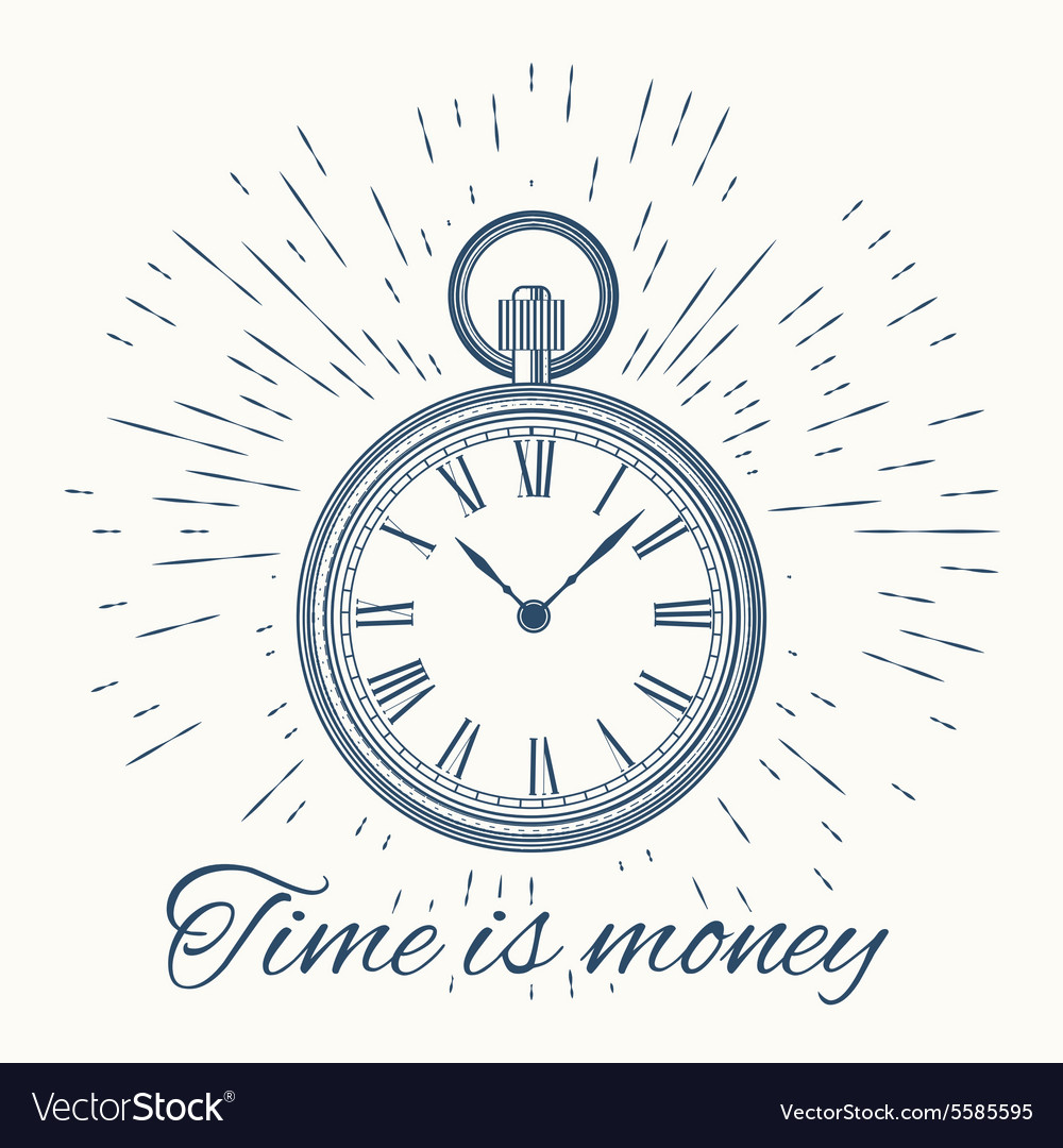 Clock and vintage sun burst frameTime is money