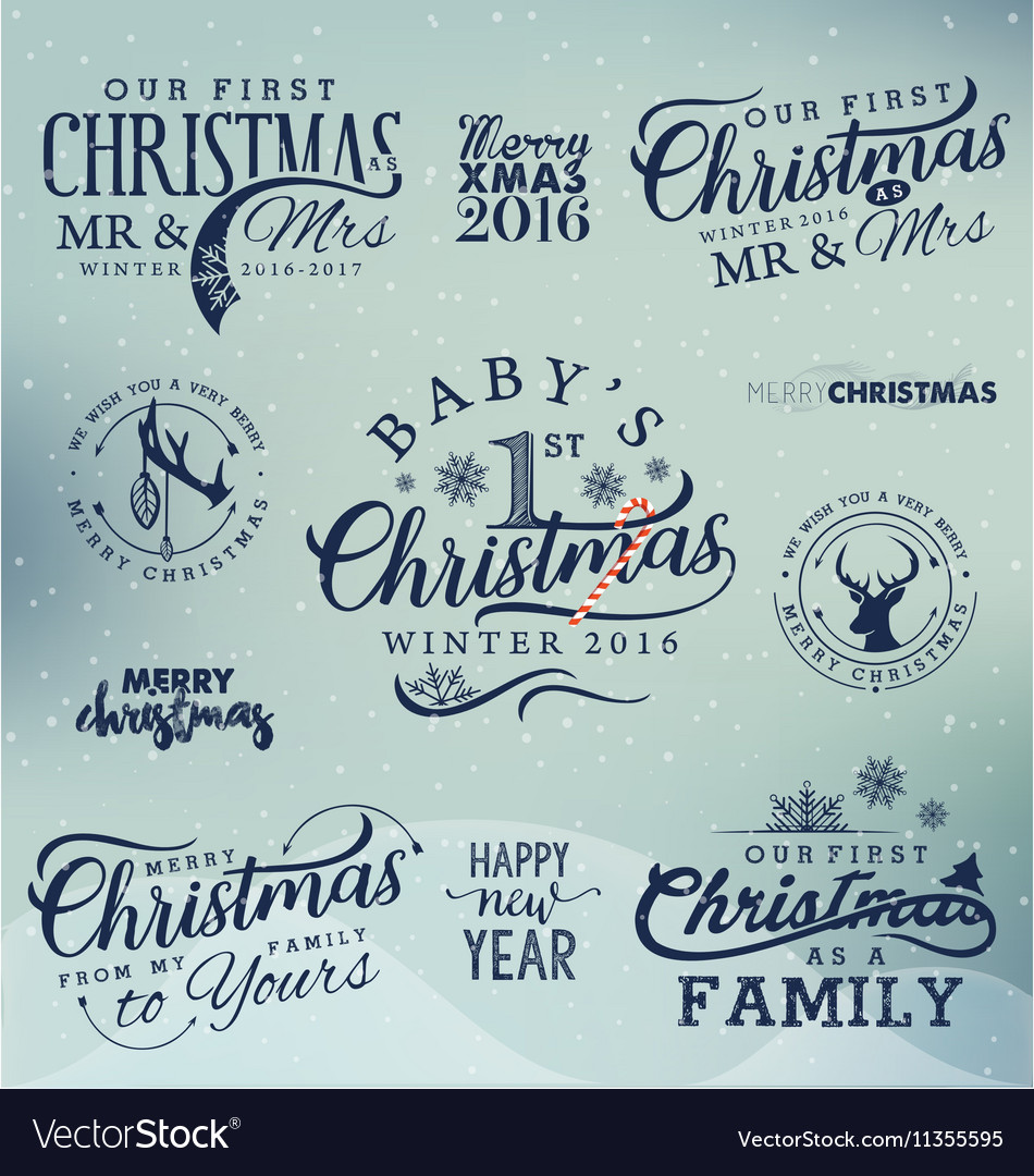 Family Baby Mr and Mrs Christmas Design Elements