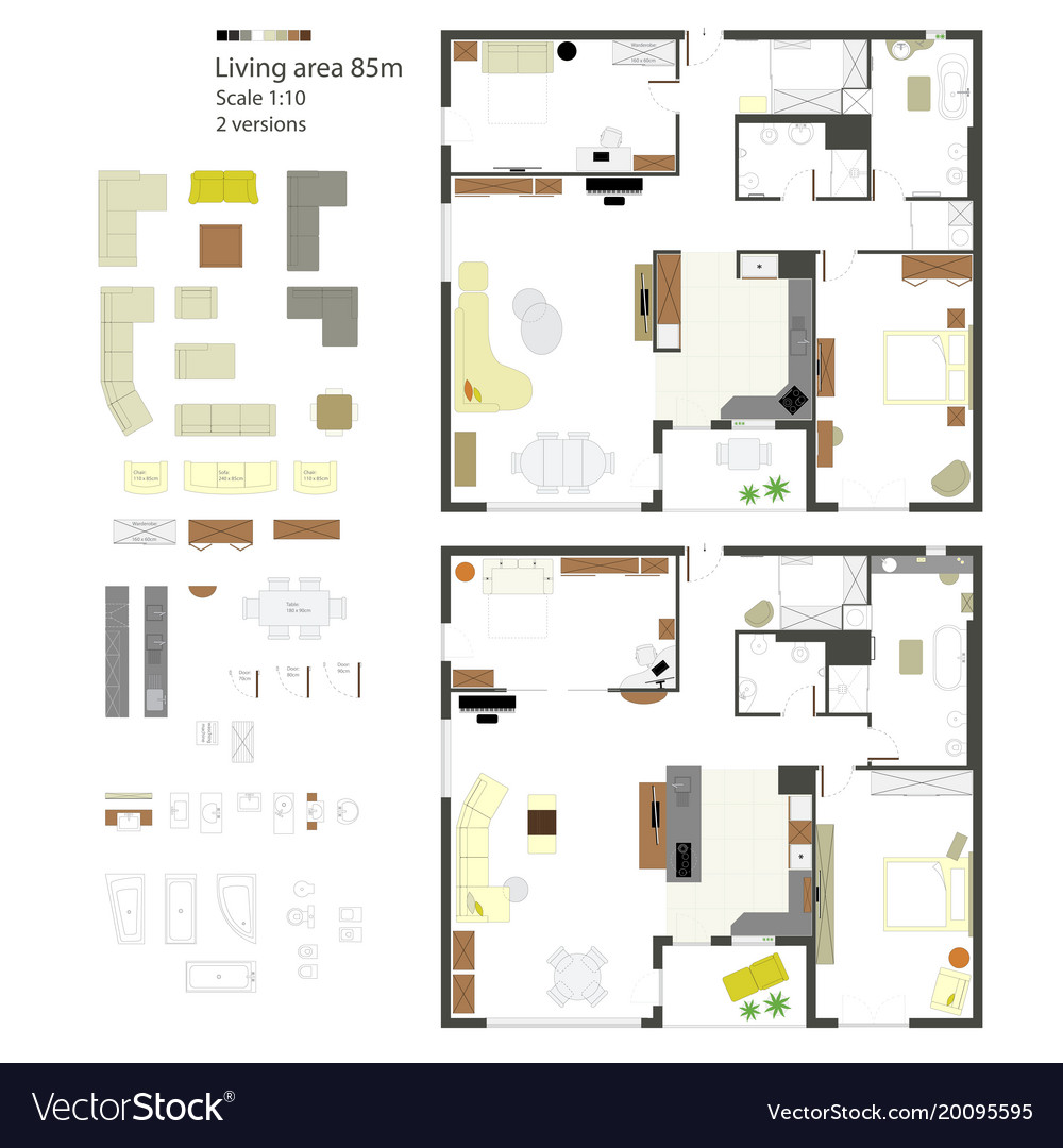 Flat projection with furniture set scale vector image