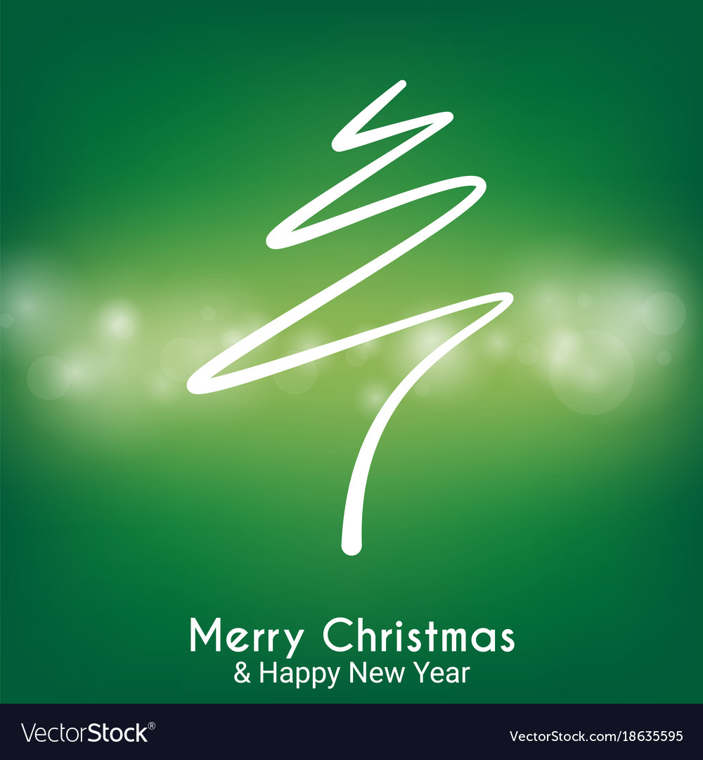 Green abstract merry christmas tree line