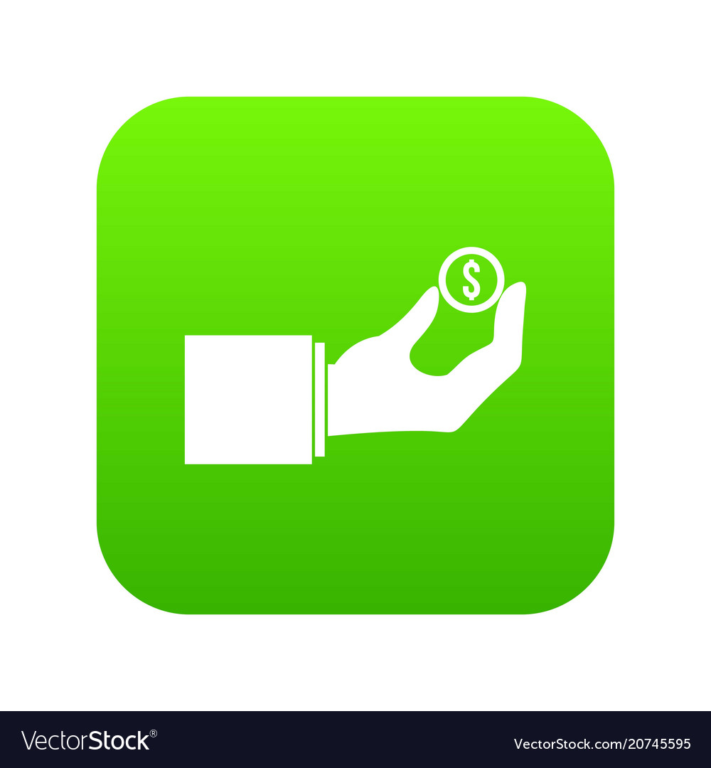 Hand holding the money coin icon digital green