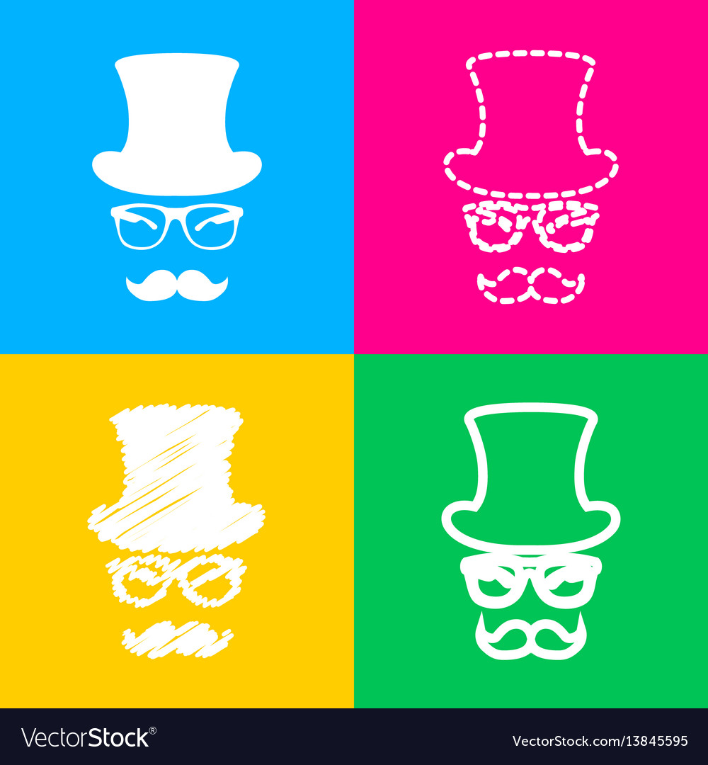 Hipster accessories design four styles of icon on