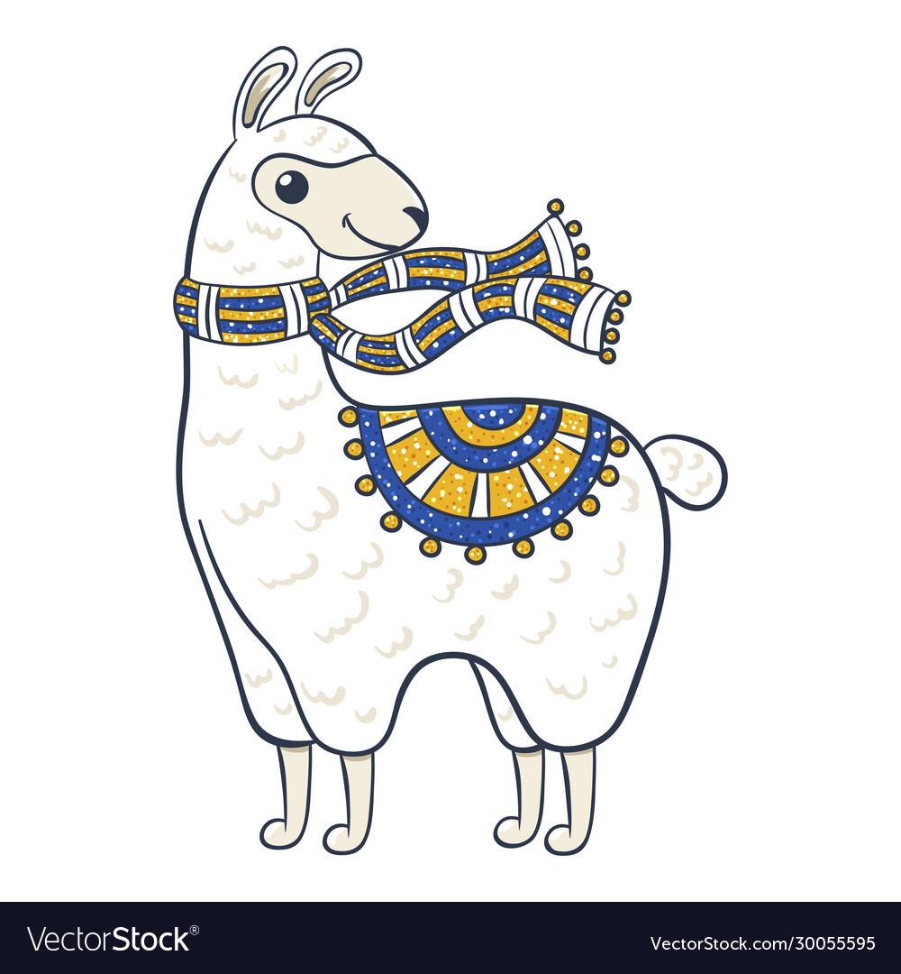 Llama cartoon cute funny domesticated pack animal
