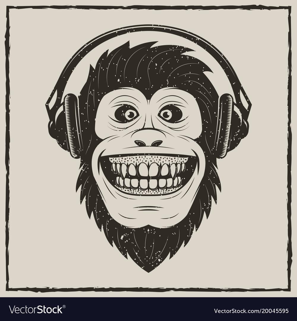 Music monkey vintage grunge design