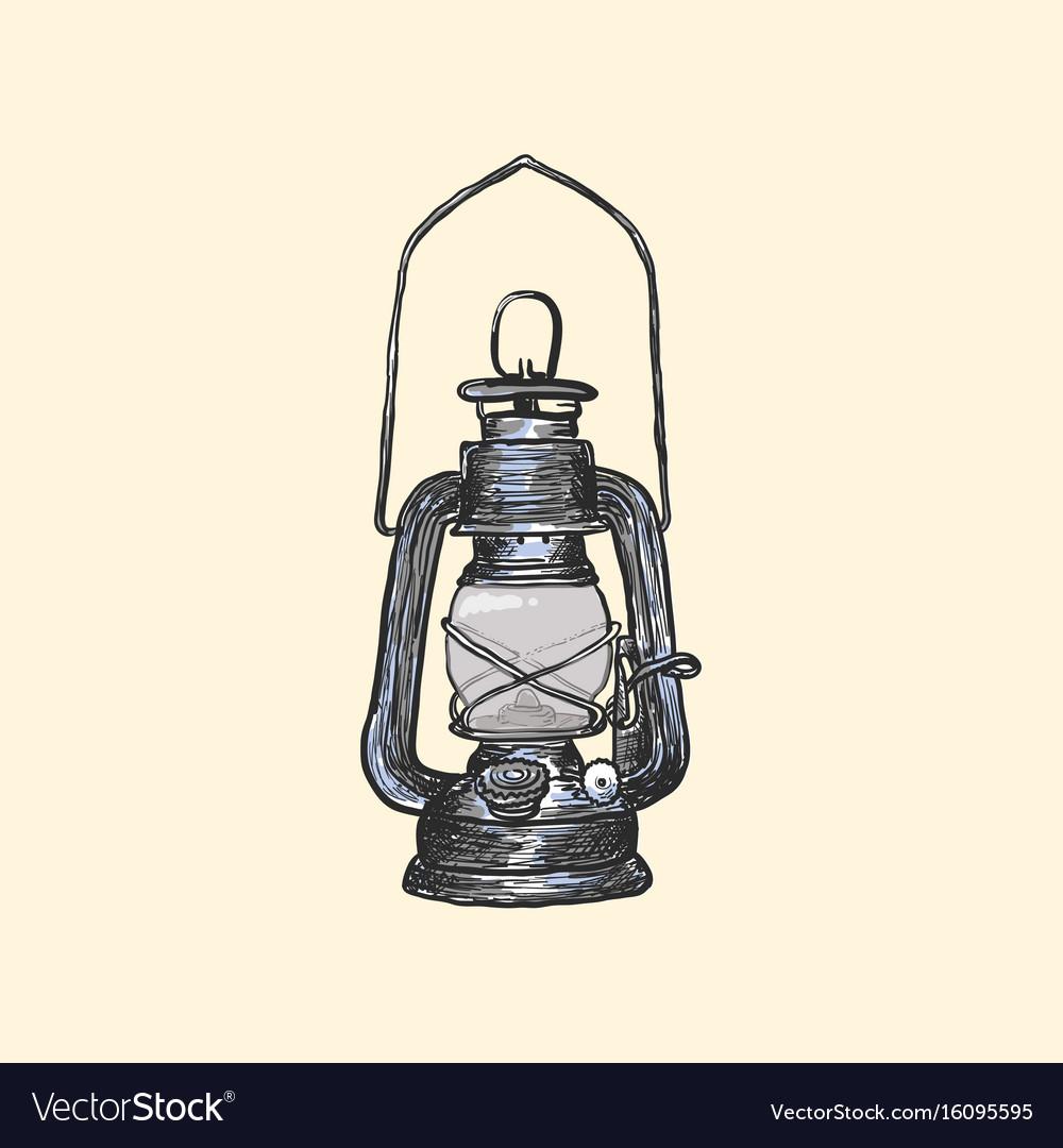 Oil lamp vintage hand drawn lanterns