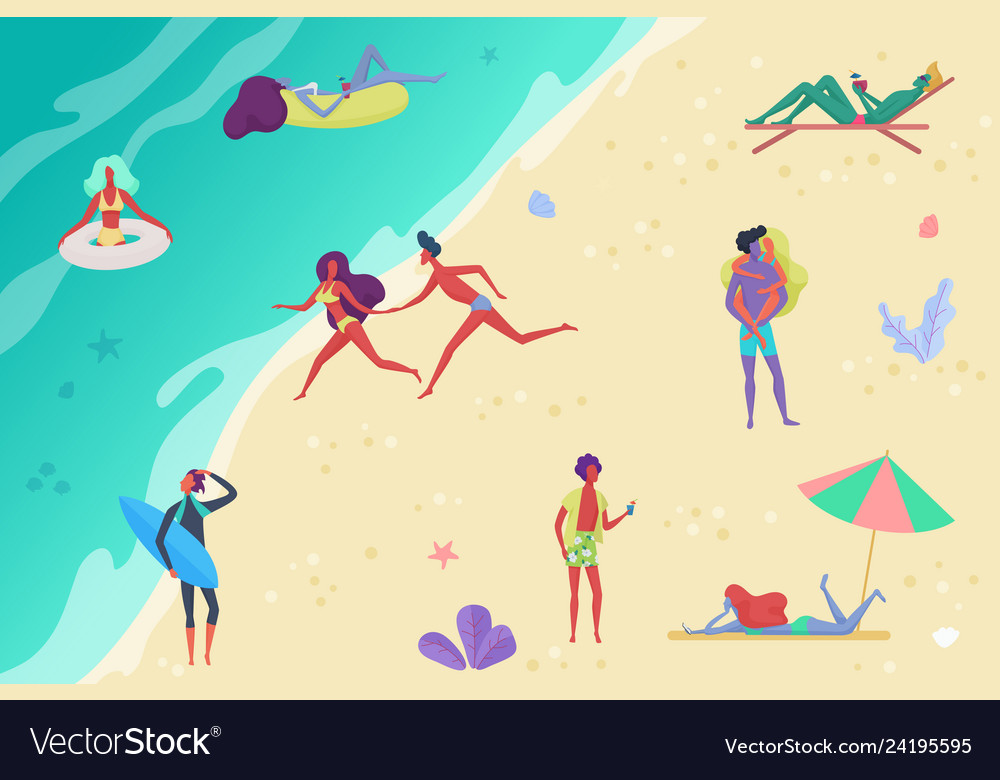 People at beach relaxing and performing outdoor