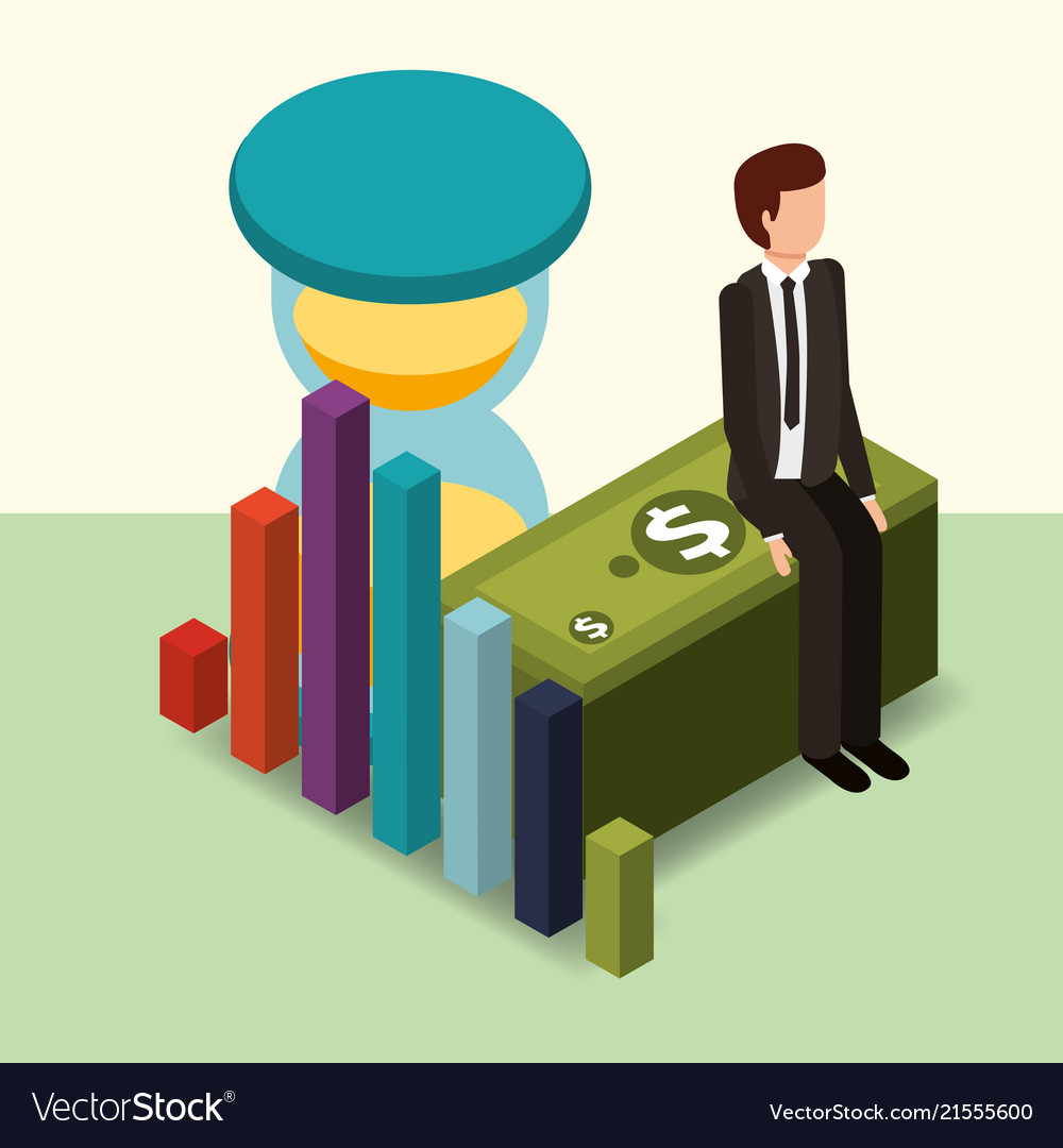 Businessman sitting on banknote hourglass and
