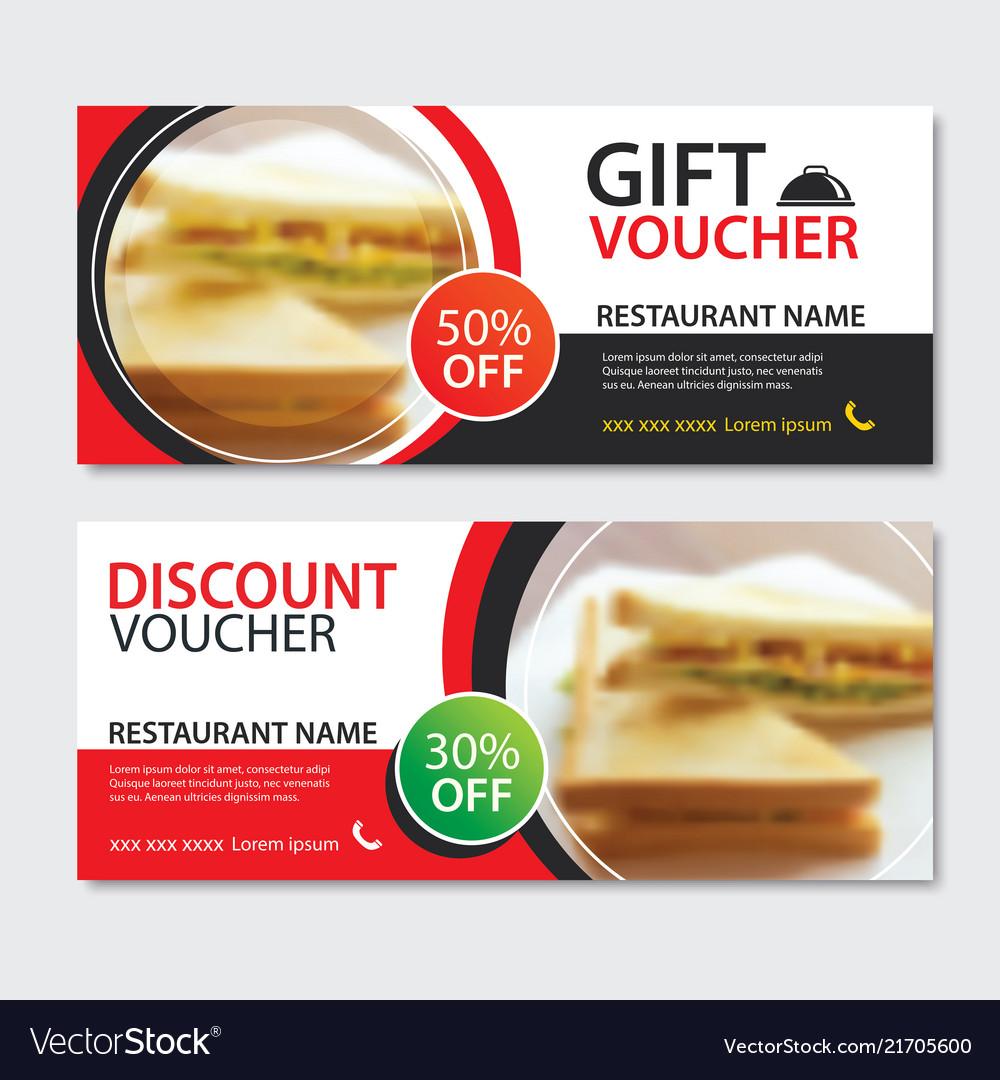 discount voucher sandwich template design set of vector image