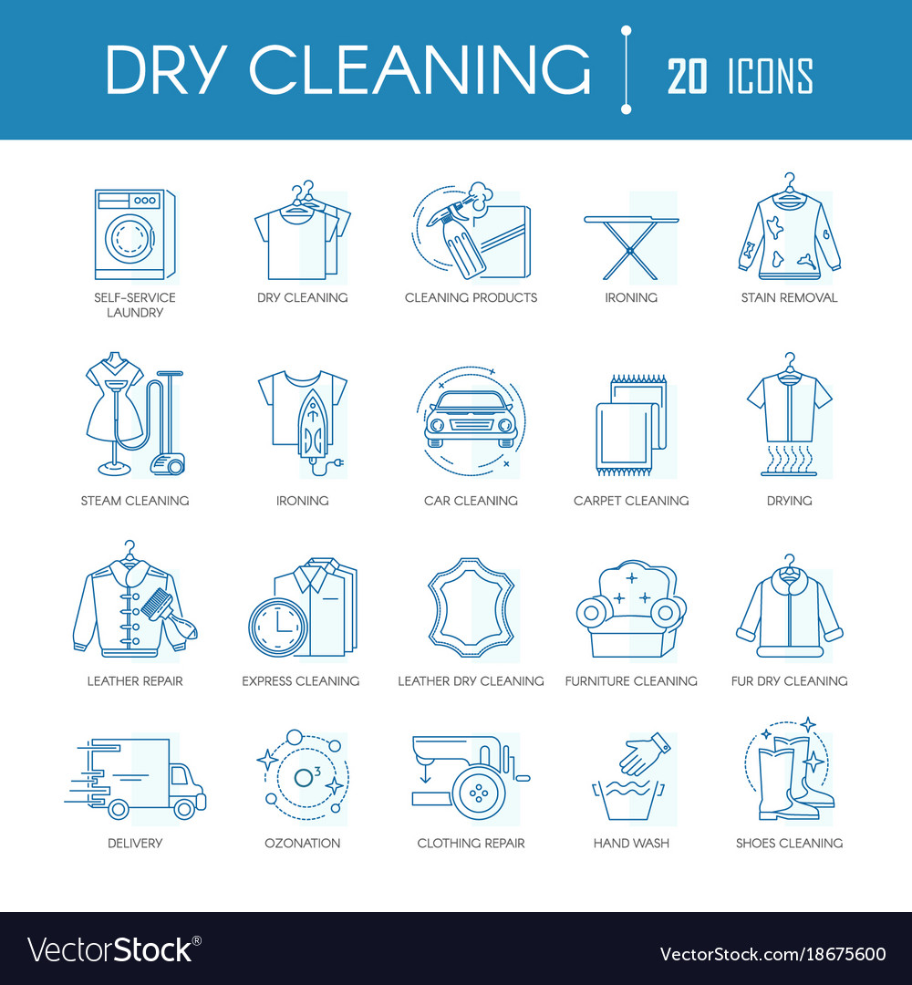 Dry cleaning laundry service line icons set