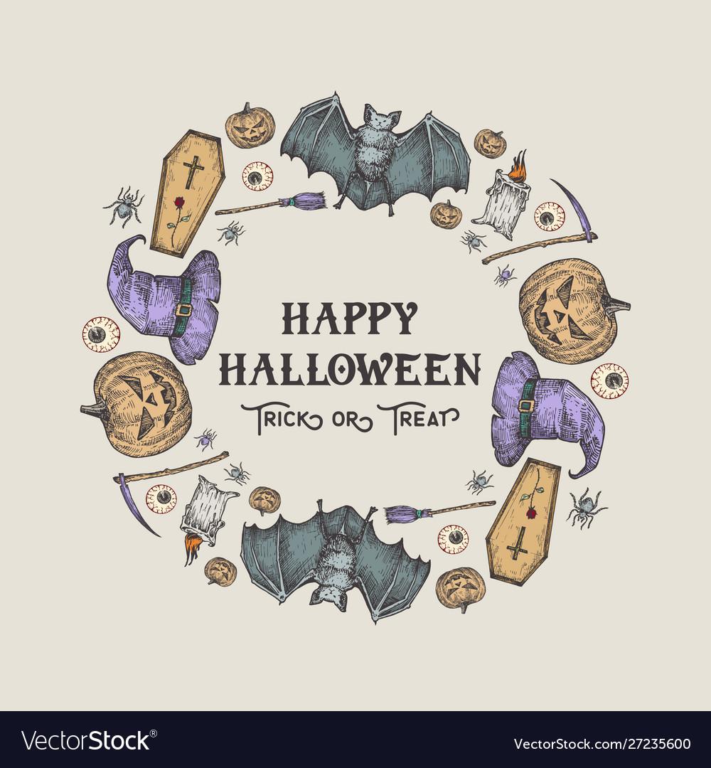 Halloween sketch wreath banner or card template