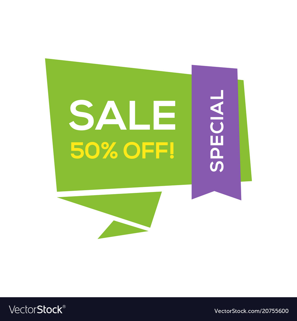 Sale banner design template flat origami speech