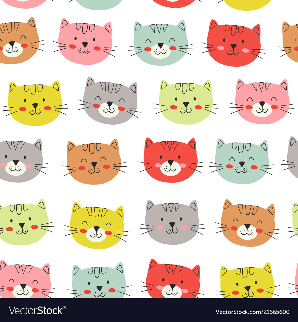 Seamless pattern with colorful heads cats