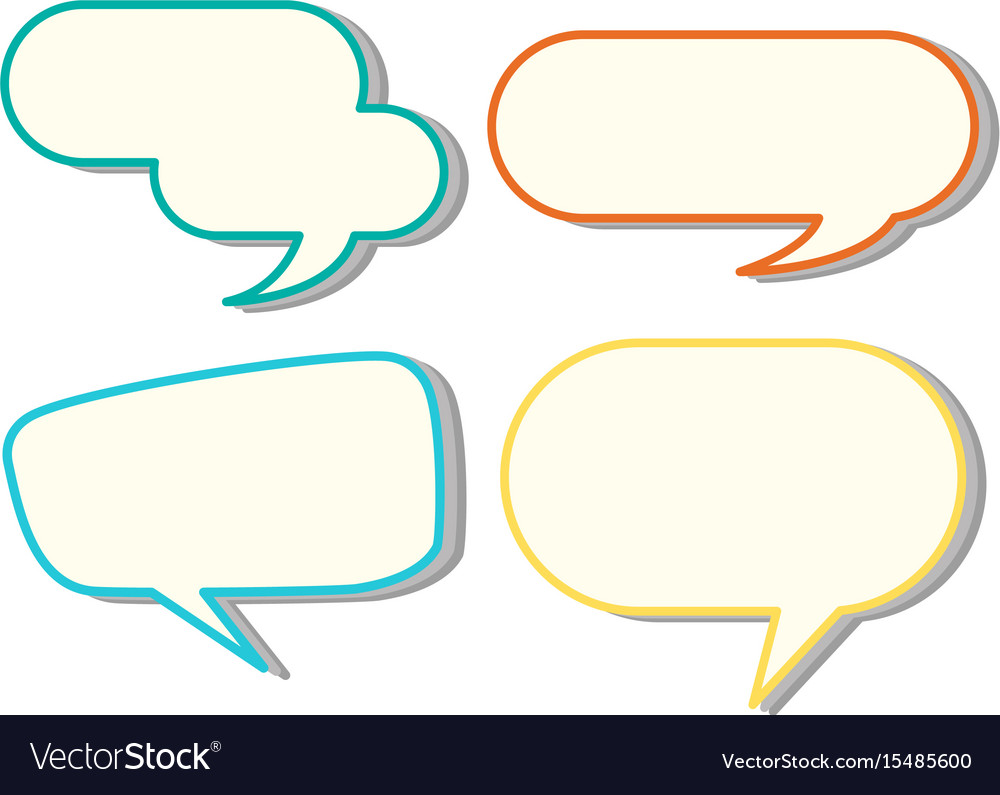 speech bubble templates in four colors royalty free vector