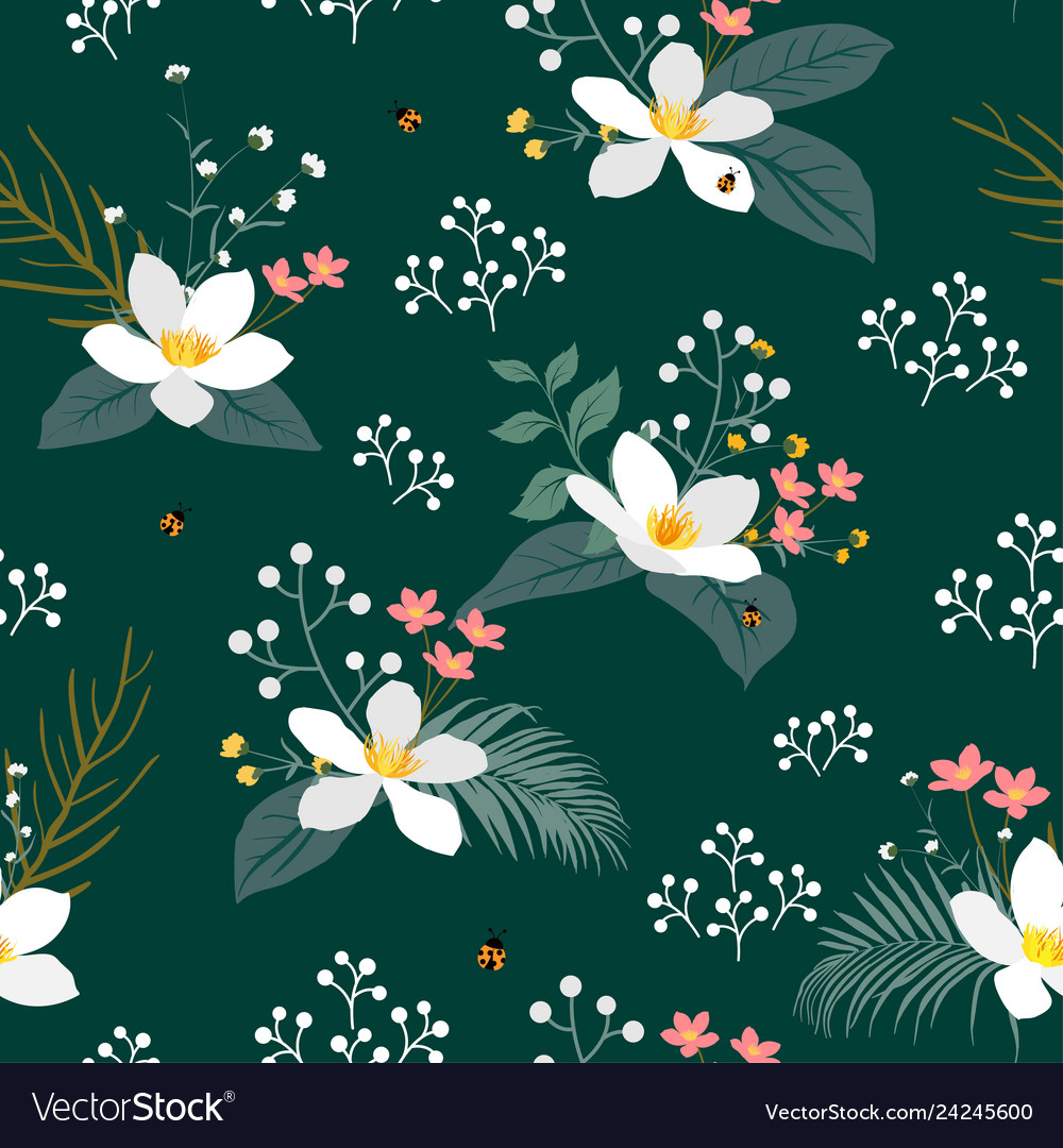 Vintage floral with tropical leaves on dark green