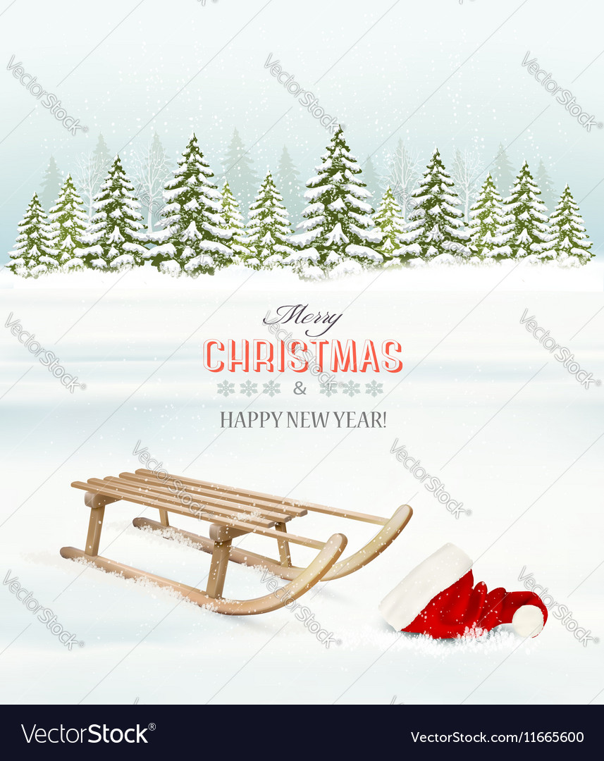 Winter Christmas background with a sleigh and a