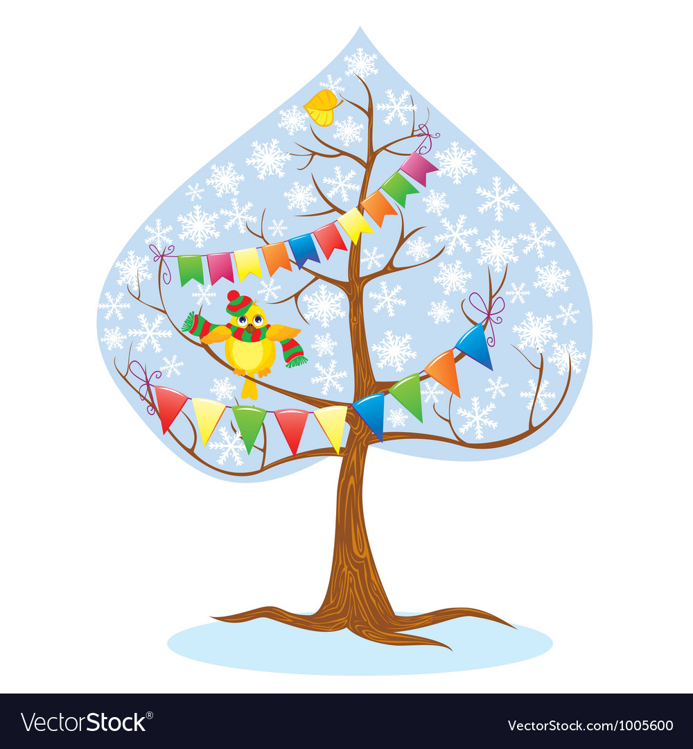 Winter - tree and funny bird