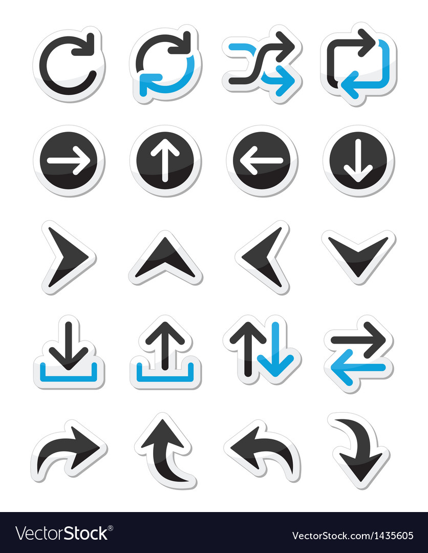 Arrow icon sets isolated on white