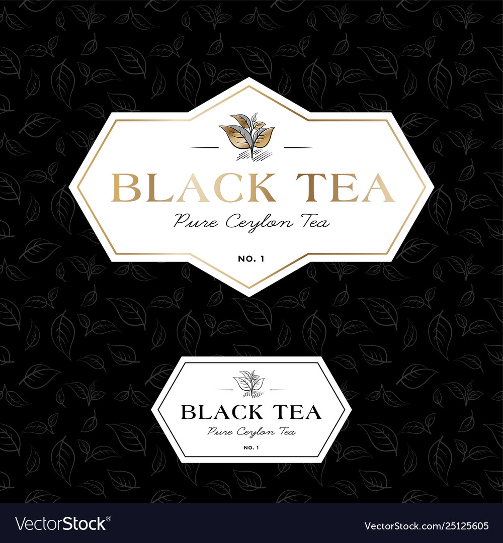 Black tea logo seamless pattern label classic styl vector