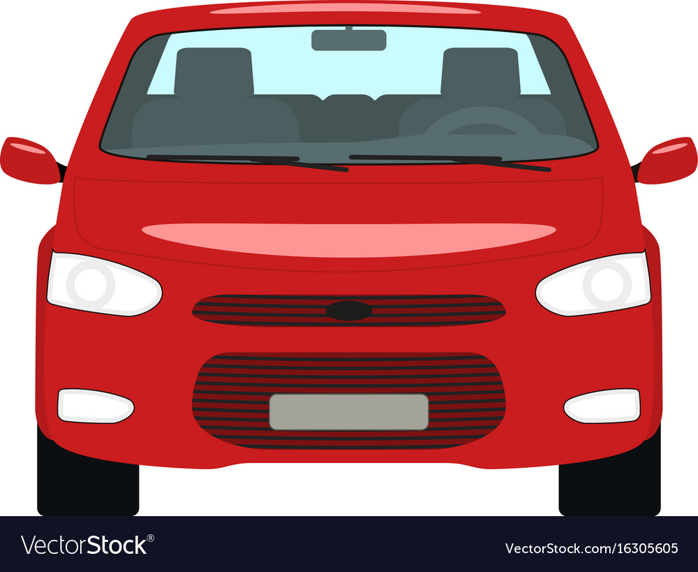 Cartoon Red Car Front View Royalty Free Vector Image
