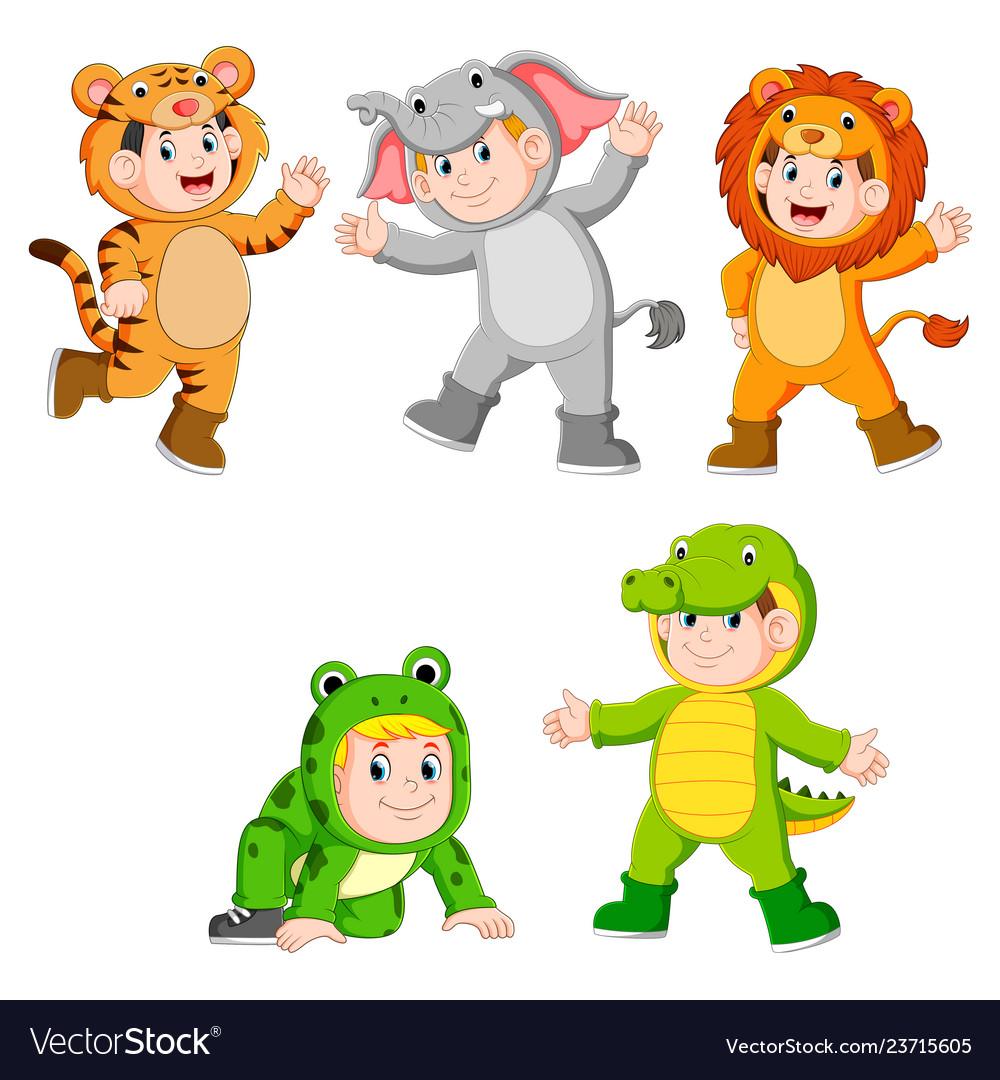 Collection children wearing cute wild animal costu