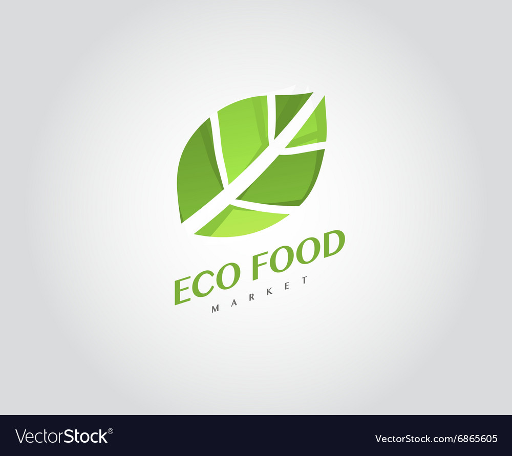 Eco Organic Health Food Market Logo Template Vector Image