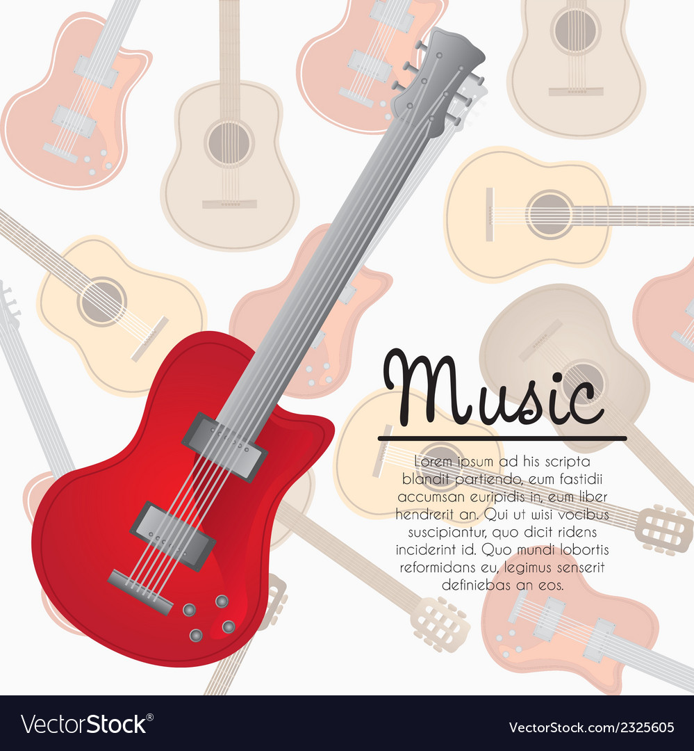 Electric guitar background of pattern of guitars vector image
