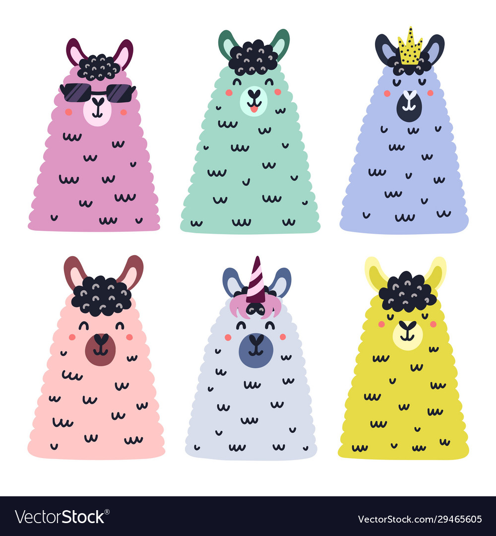 Faces cute alpacas collection hand drawn