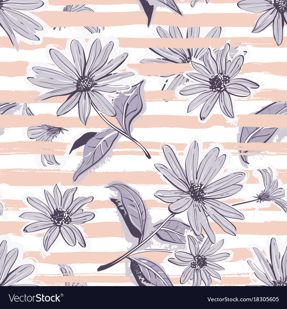Flower Pattern Seamless Elegant Pastel Striped Vector Image