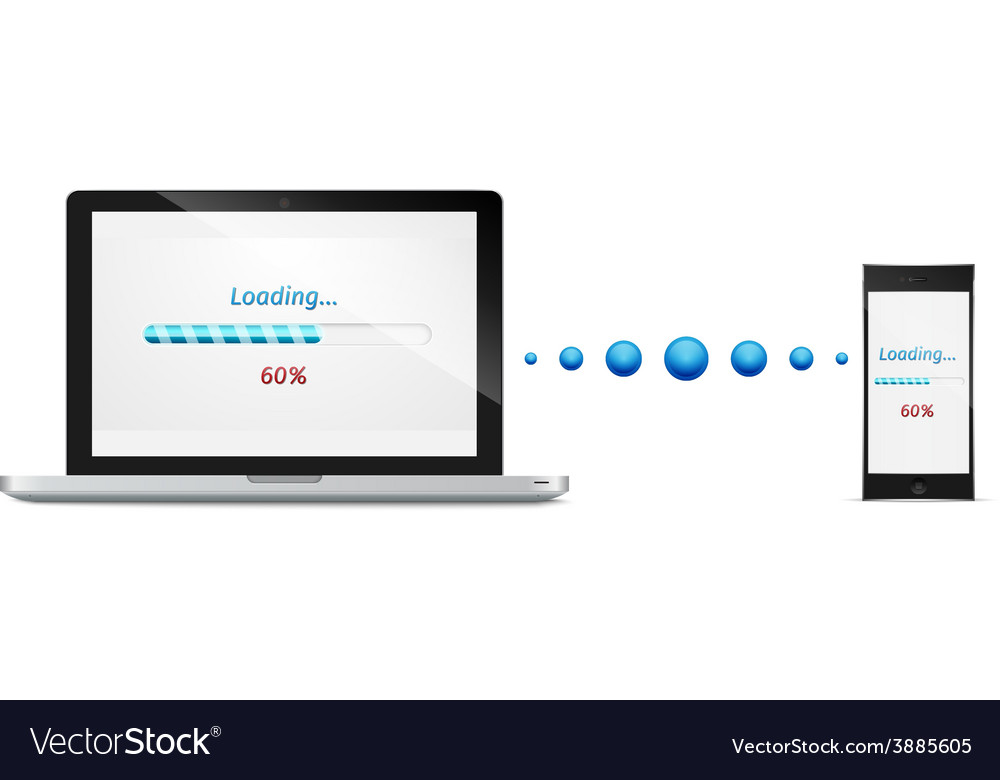 Laptop mobile phone file transfer concept Vector Image