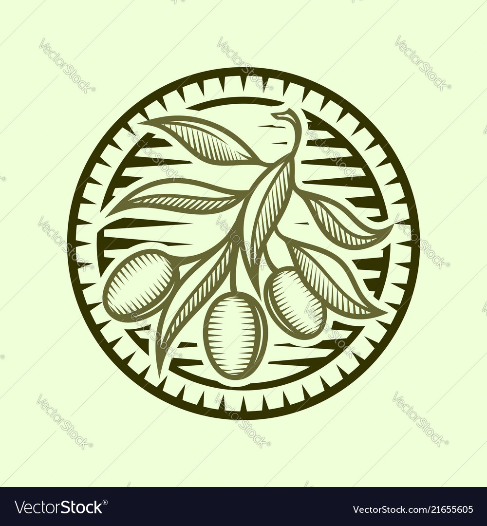 Olive branch icon in stylized round frame