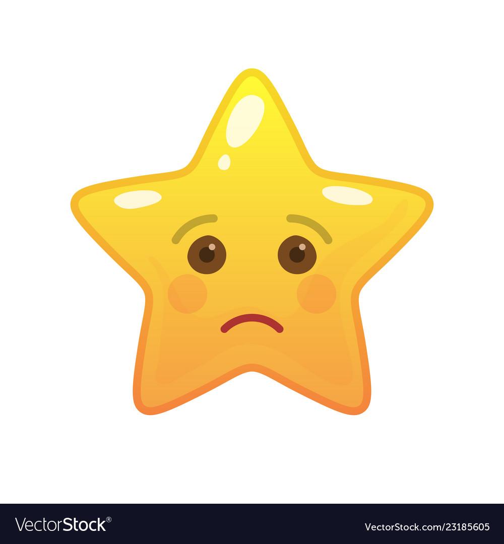 Sad star shaped comic emoticon Royalty Free Vector Image