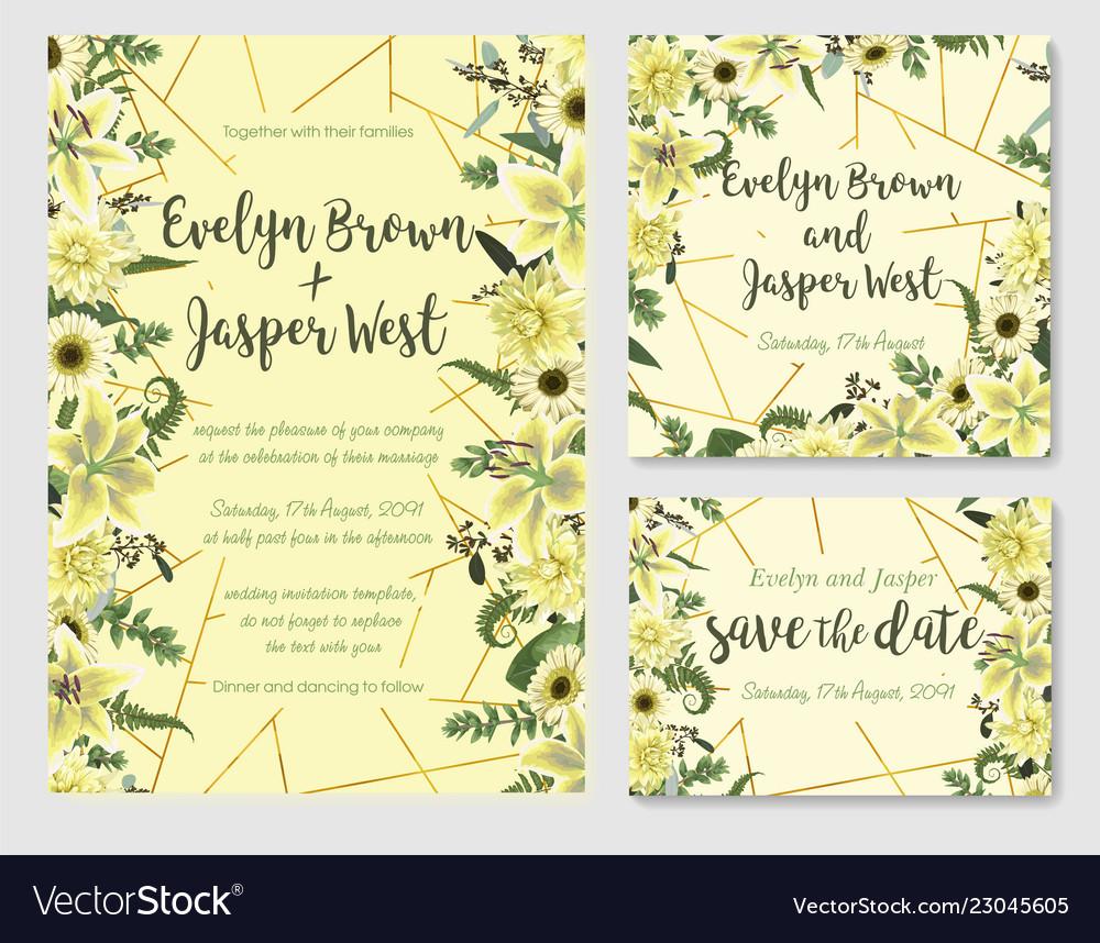 Set of wedding invitation greeting card save