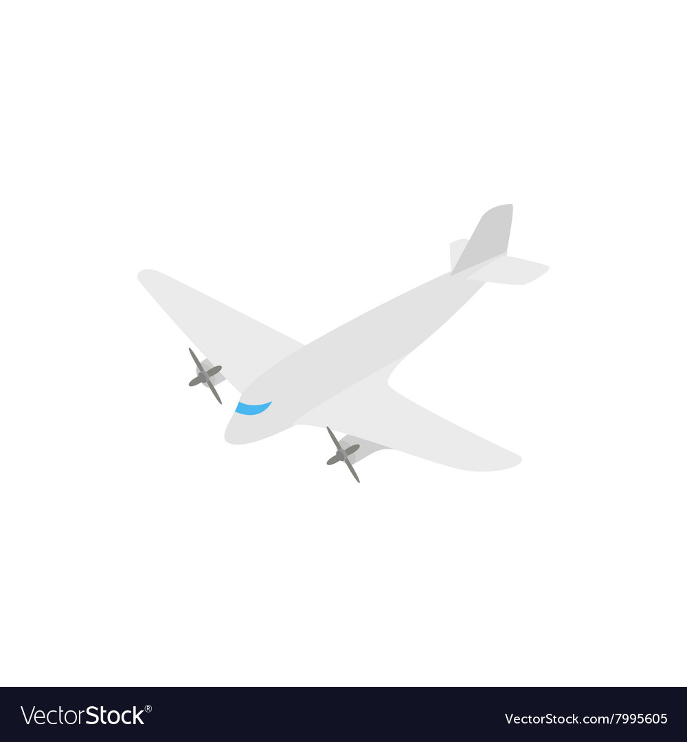 Small airplane icon isometric 3d style vector image
