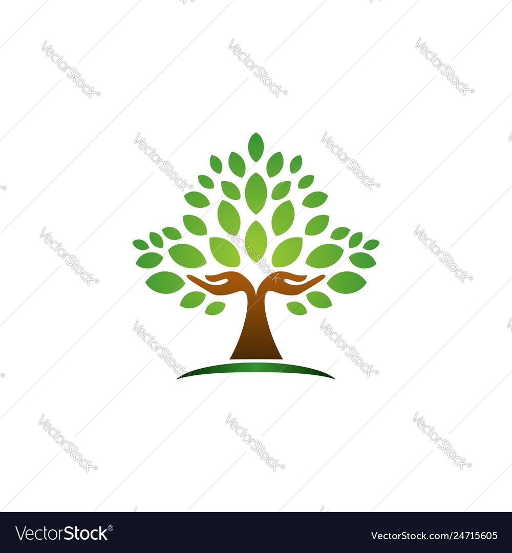 Tree hand logo concept wellness symbol icon design
