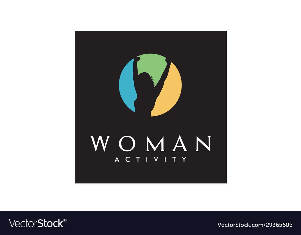 Woman body awakening wellness success health logo