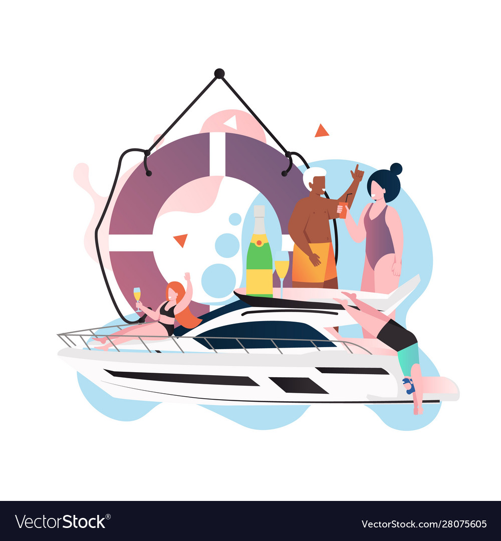 Yacht party concept for web banner website