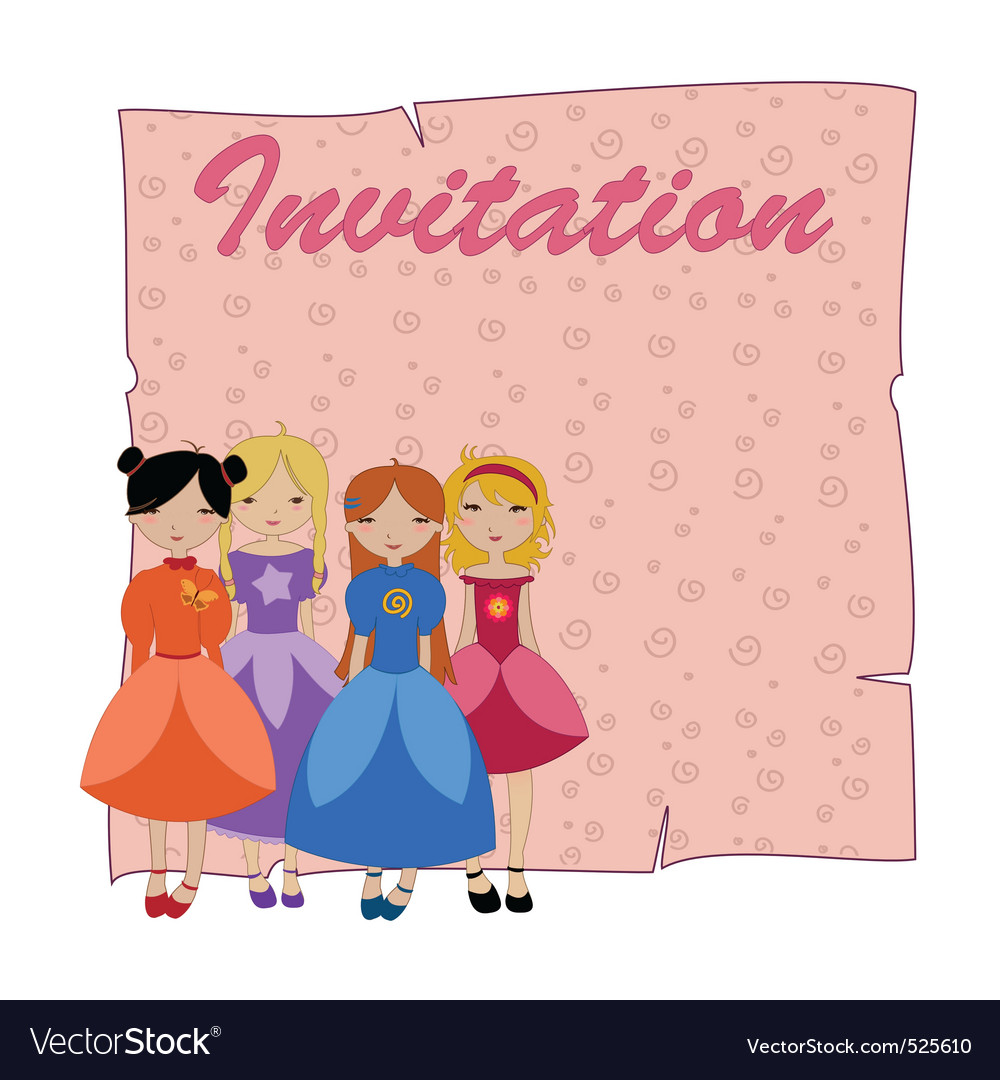 Beautiful invitation with four little girls vector image