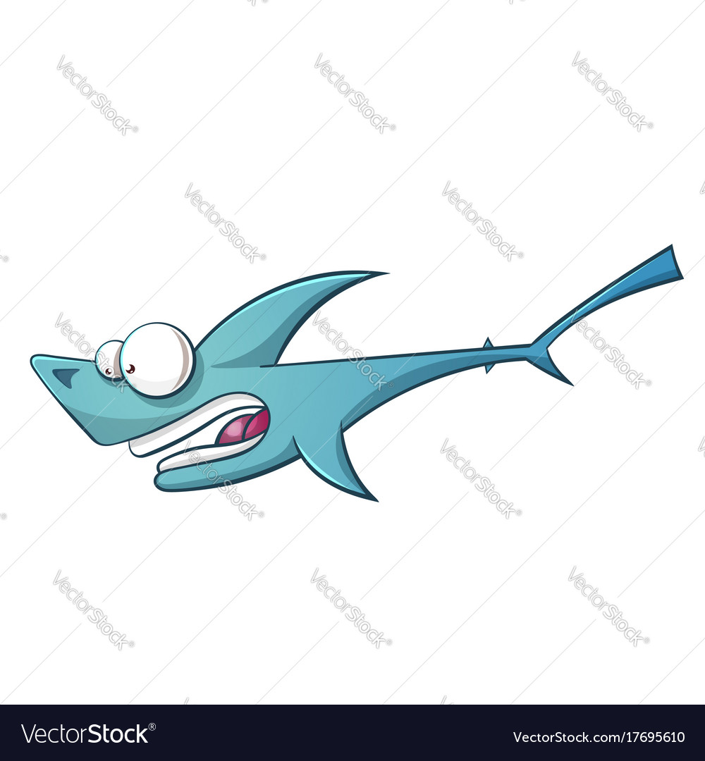 Black line cartoon shark