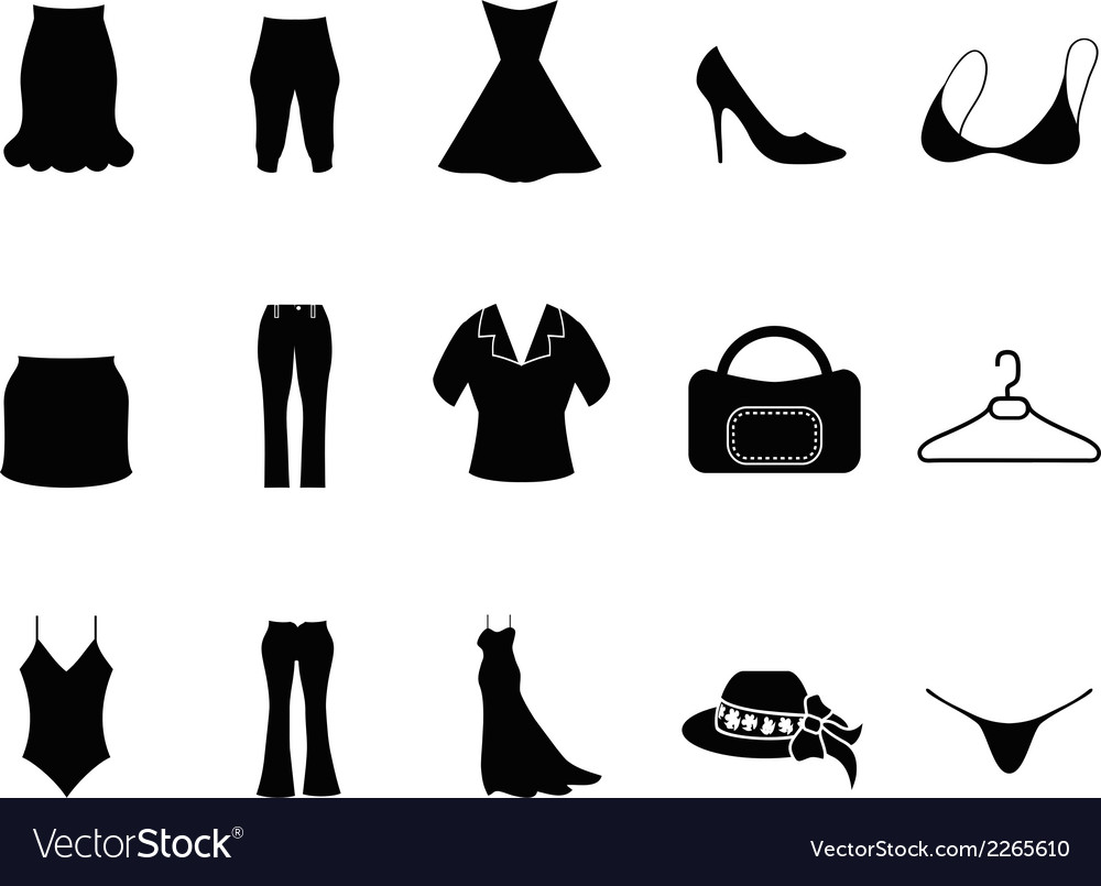 Black woman fashion icons set