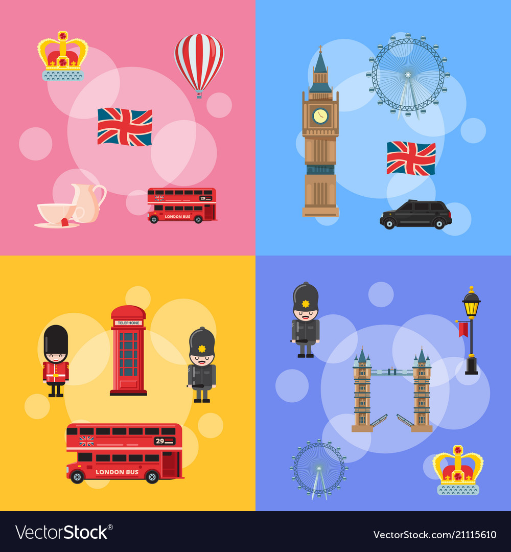 Cartoon london sights and objects concept