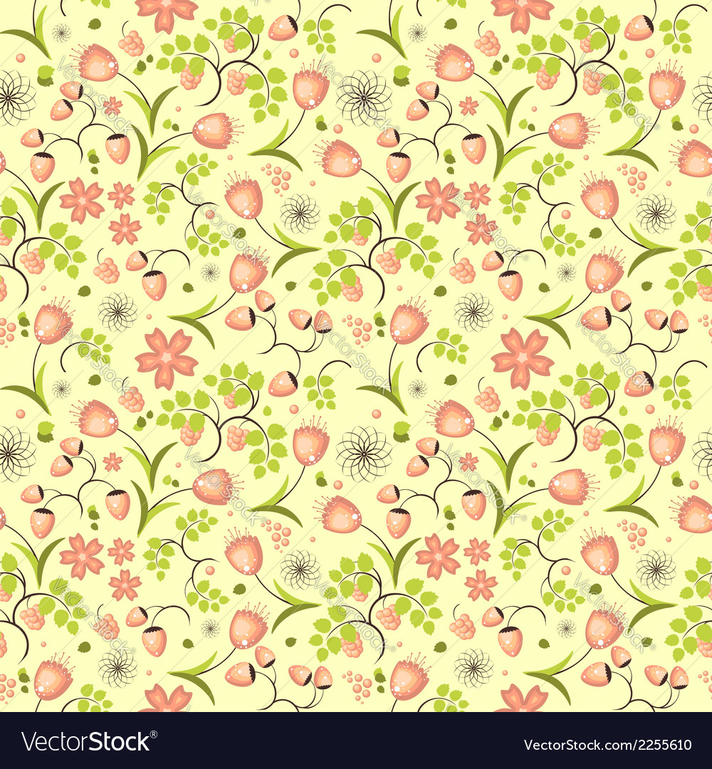 Floral fruit and berry colorful seamless pattern