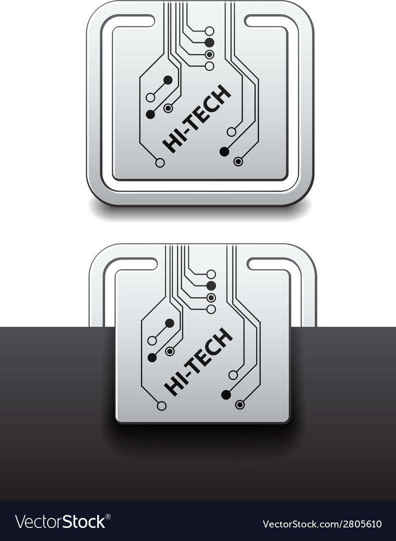 Hi Tech Square Circuit Board Attached Labels Vector Image Logo