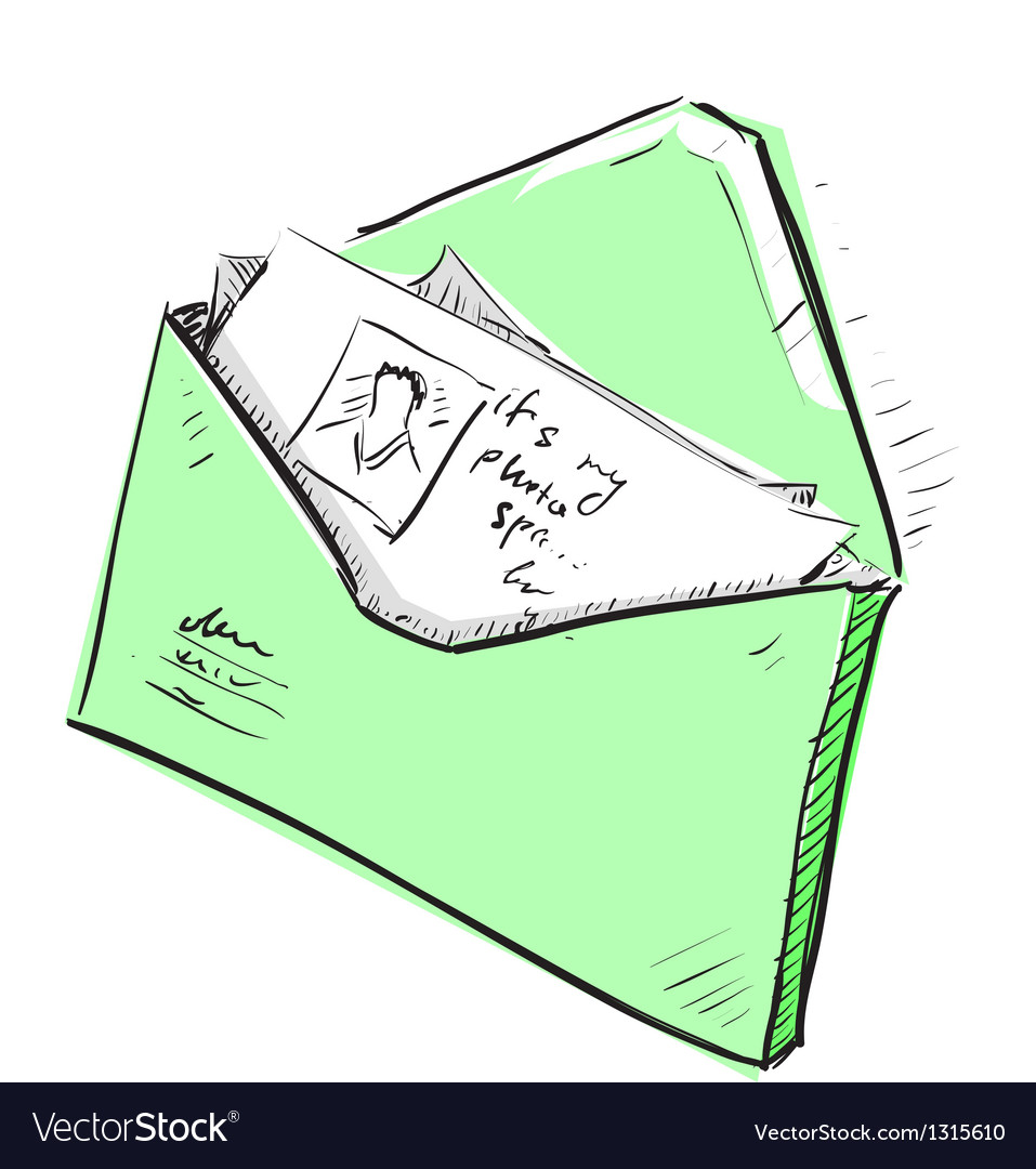 Letter and photos in envelope cartoon icon