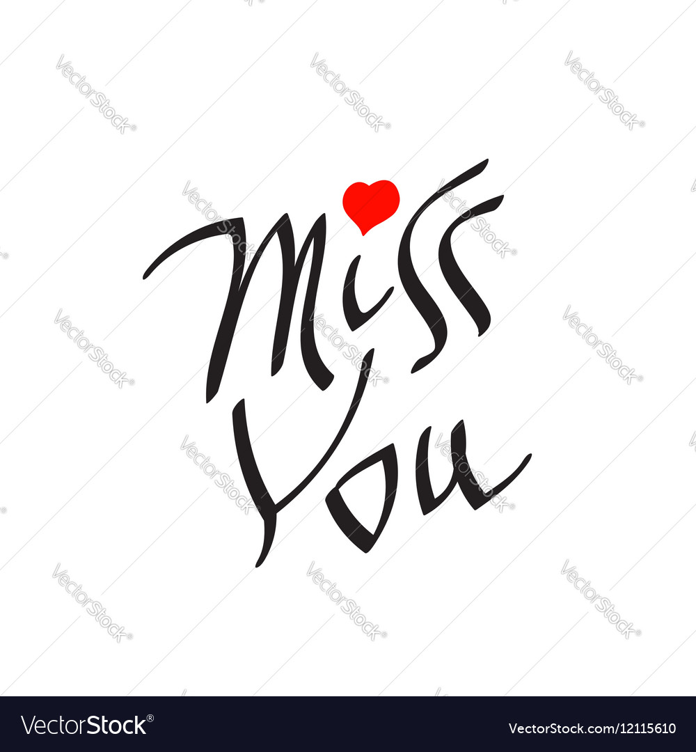Miss You text with heart symbol
