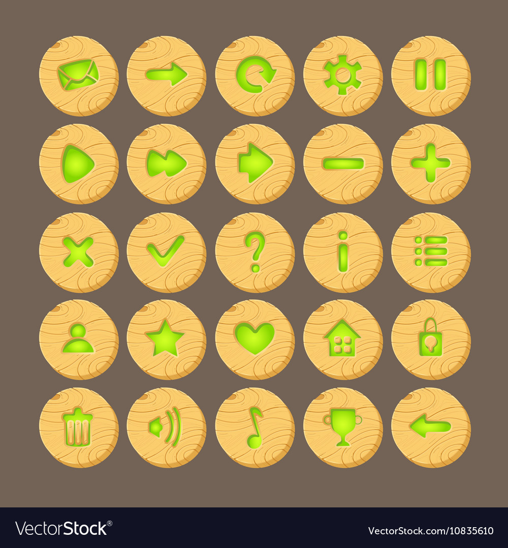 Set of Cartoon wood buttons with web icons