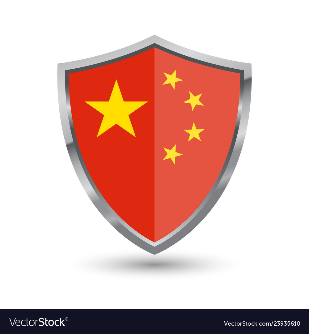 Shield with flag of china isolated