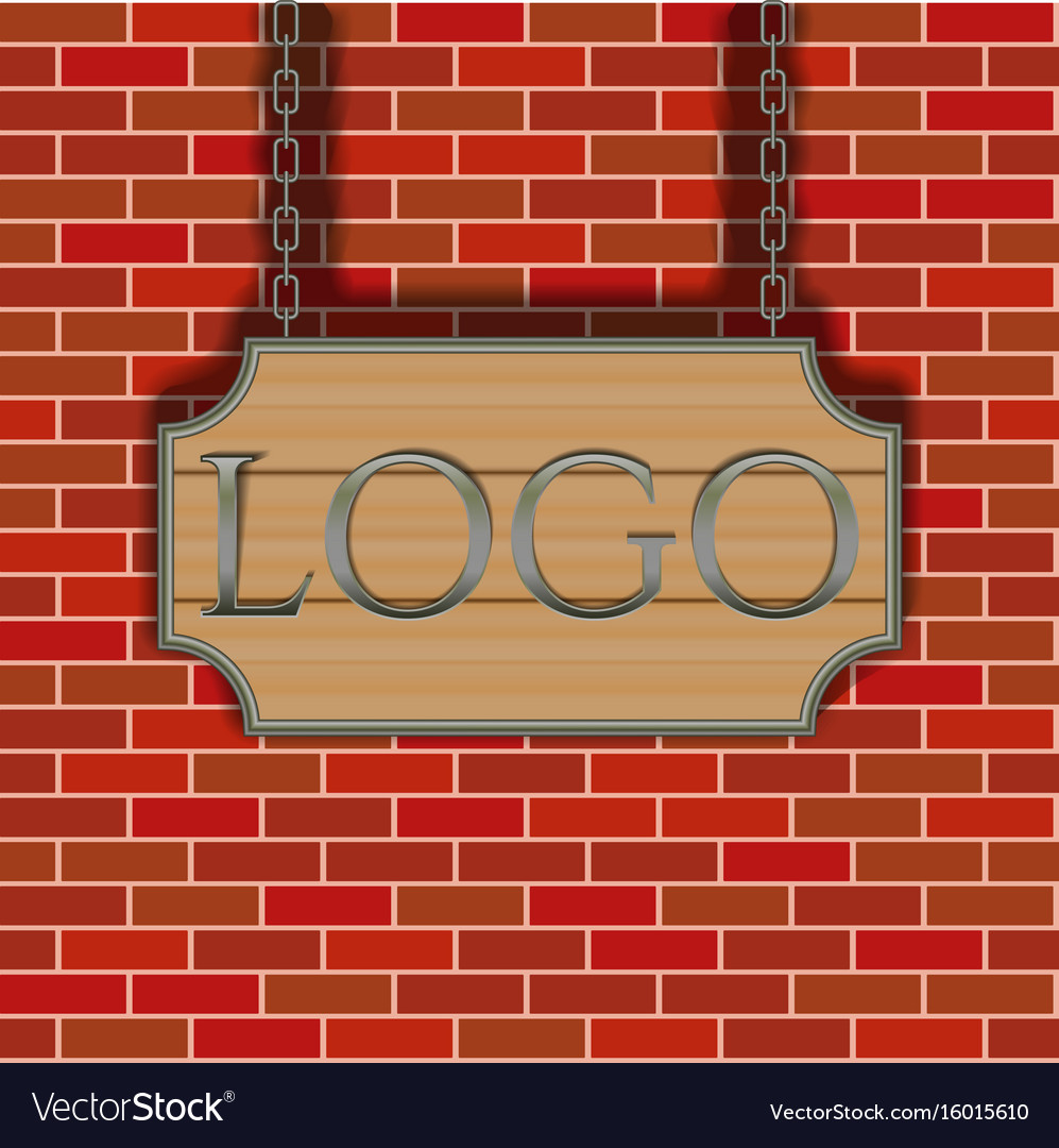 Tavern signboard template on brick wall