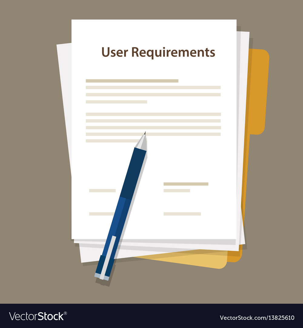 User Requirements Specifications Document Paper Vector Image - User requirements